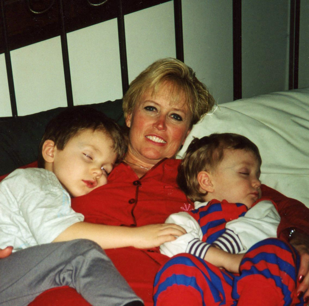 Melanie snuggling with the boys